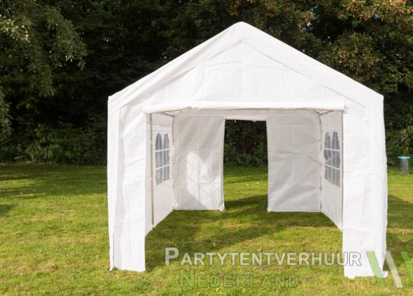 Partytent 3x4 meter voorkant met deur huren - Partytentverhuur Hoofddorp